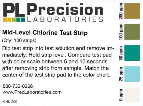 mid level chlorine test strip, chlorine test strips
