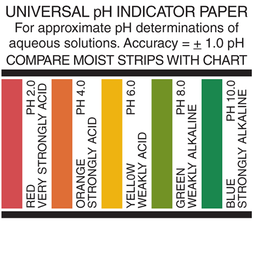 universal pH paper, universal pH paper color chart, pH test strips