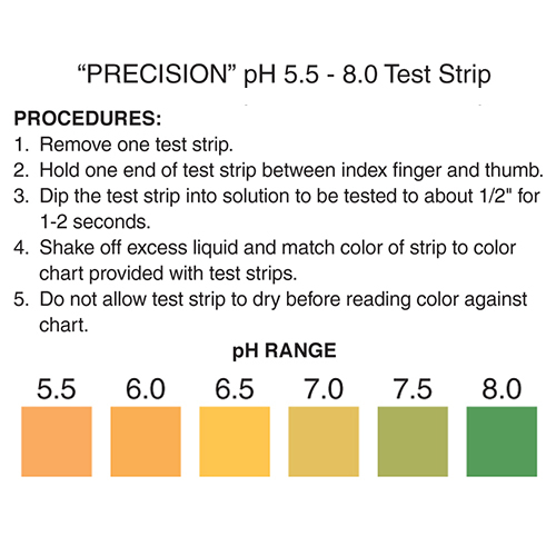 pH 5.5-8 test strips, pH 5.5-8 color chart, pH test strips