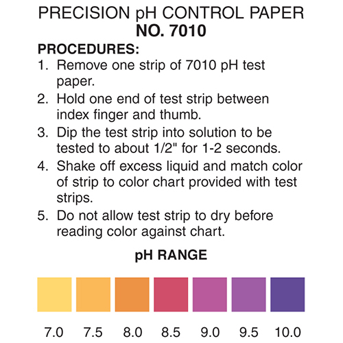 pH 7-10 test strip, pH 7-10 color chart, pH test strips
