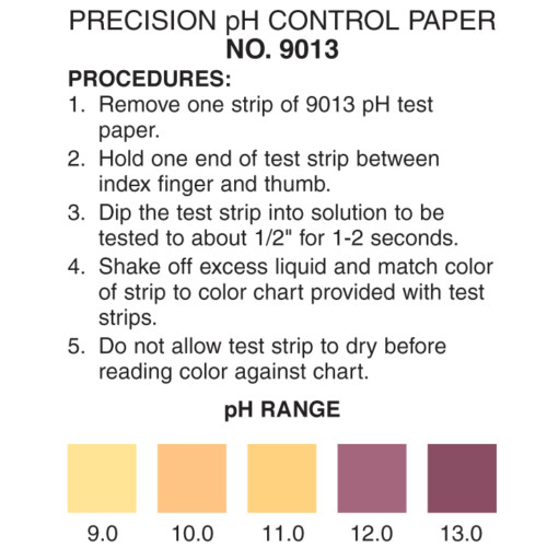 pH 9-13 test strip, pH 9-13 color chart, pH test strips