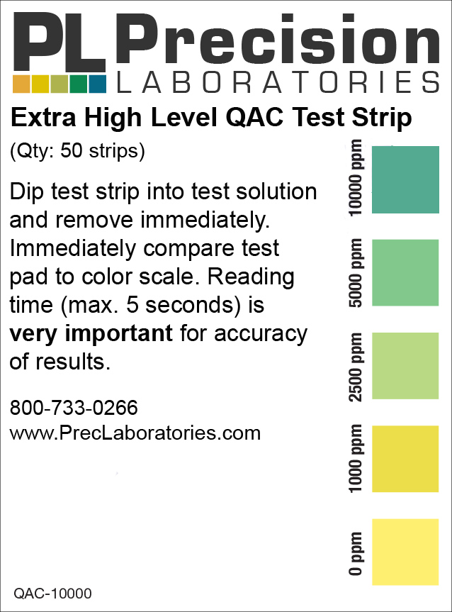 extra high level qac test strip, qac test strip, quaternary ammonium compounds